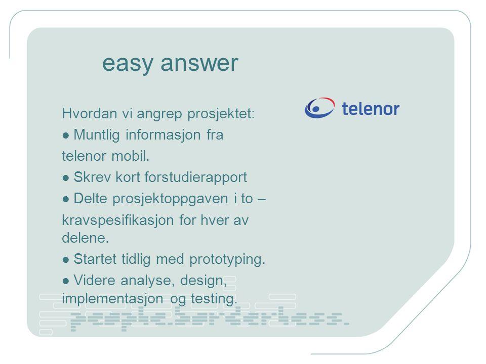 easy answer Hvordan vi angrep prosjektet: Muntlig informasjon fra telenor mobil. Skrev kort forstudierapport Delte prosjektoppgaven i to – kravspesifi