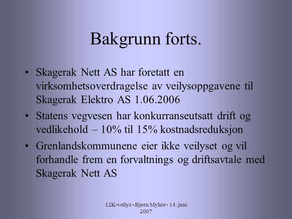 12K-veilys - Bjørn Myhre - 14. juni 2007 Bakgrunn forts.
