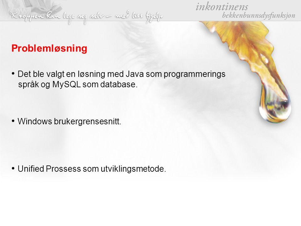 Problemløsning Det ble valgt en løsning med Java som programmerings språk og MySQL som database. Windows brukergrensesnitt. Unified Prossess som utvik