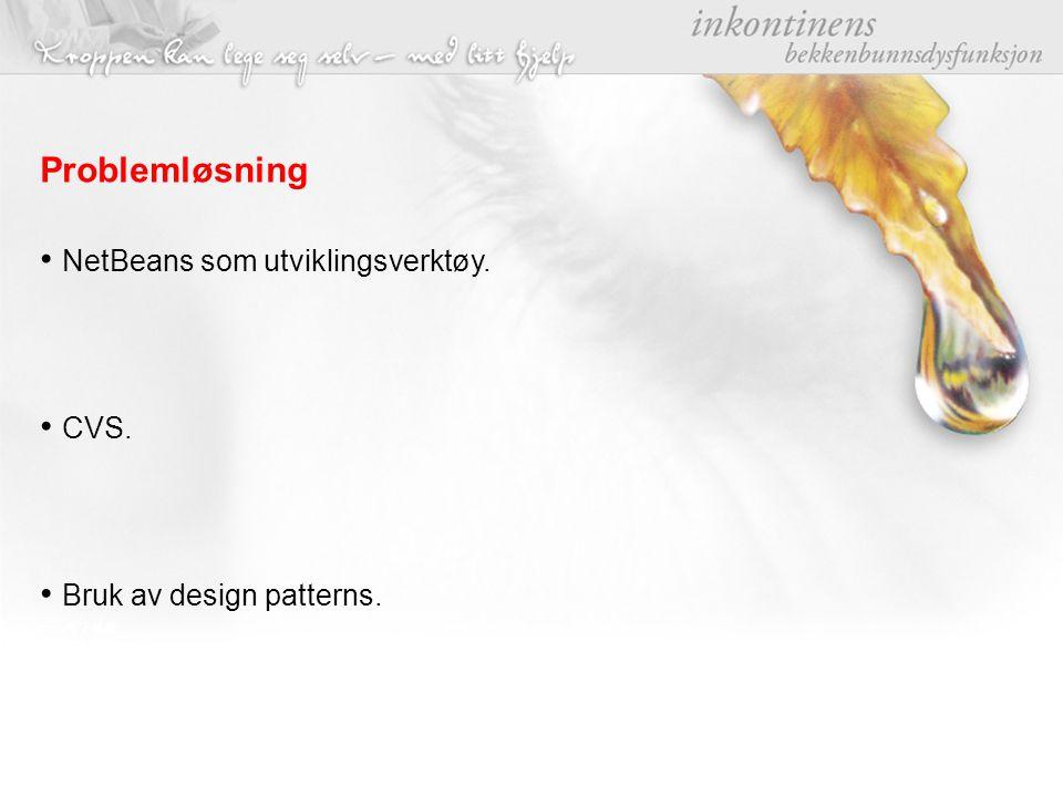 Problemløsning NetBeans som utviklingsverktøy. CVS. Bruk av design patterns.