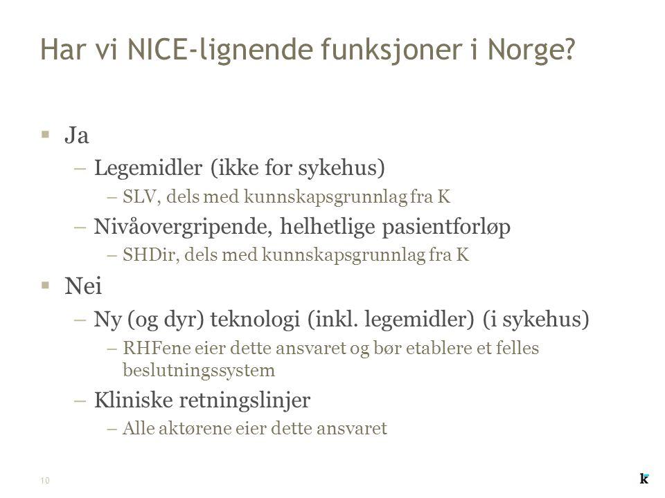 10 Har vi NICE-lignende funksjoner i Norge?  Ja –Legemidler (ikke for sykehus) –SLV, dels med kunnskapsgrunnlag fra K –Nivåovergripende, helhetlige p