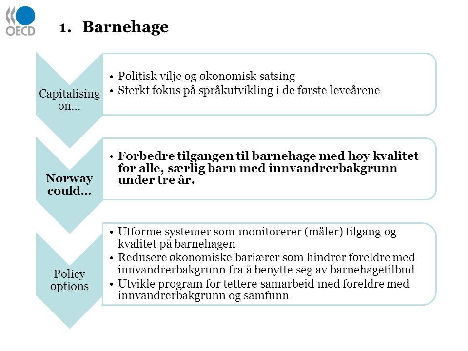 1.Barnehage Capitalising on… Politisk vilje og økonomisk satsing Sterkt fokus på språkutvikling i de første leveårene Norway could… Forbedre tilgangen til barnehage med høy kvalitet for alle, særlig barn med innvandrerbakgrunn under tre år.