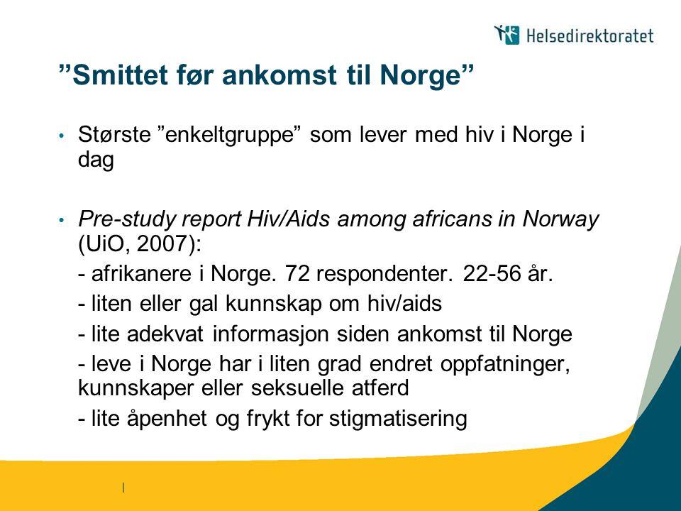 | Smittet før ankomst til Norge Største enkeltgruppe som lever med hiv i Norge i dag Pre-study report Hiv/Aids among africans in Norway (UiO, 2007): - afrikanere i Norge.