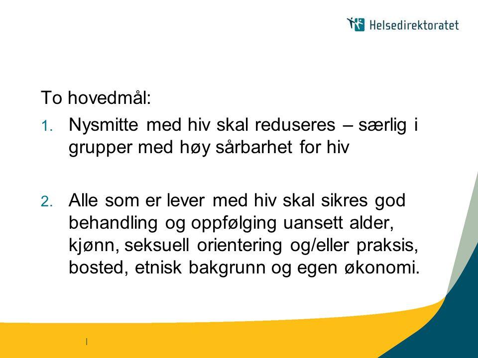 | To hovedmål: 1.Nysmitte med hiv skal reduseres – særlig i grupper med høy sårbarhet for hiv 2.