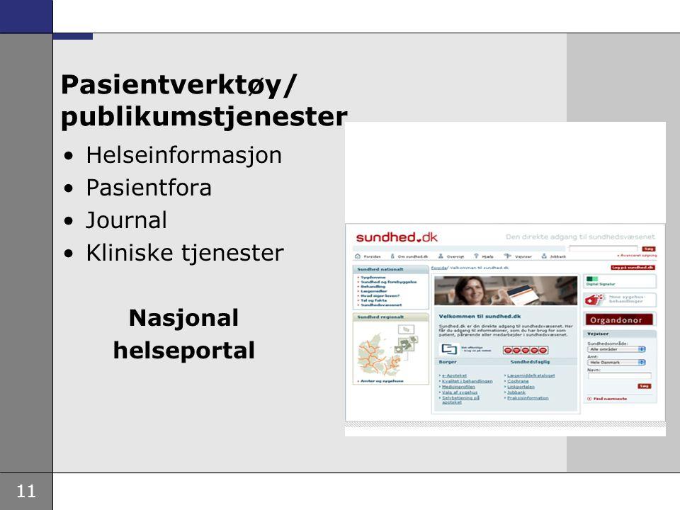 11 Pasientverktøy/ publikumstjenester Helseinformasjon Pasientfora Journal Kliniske tjenester Nasjonal helseportal