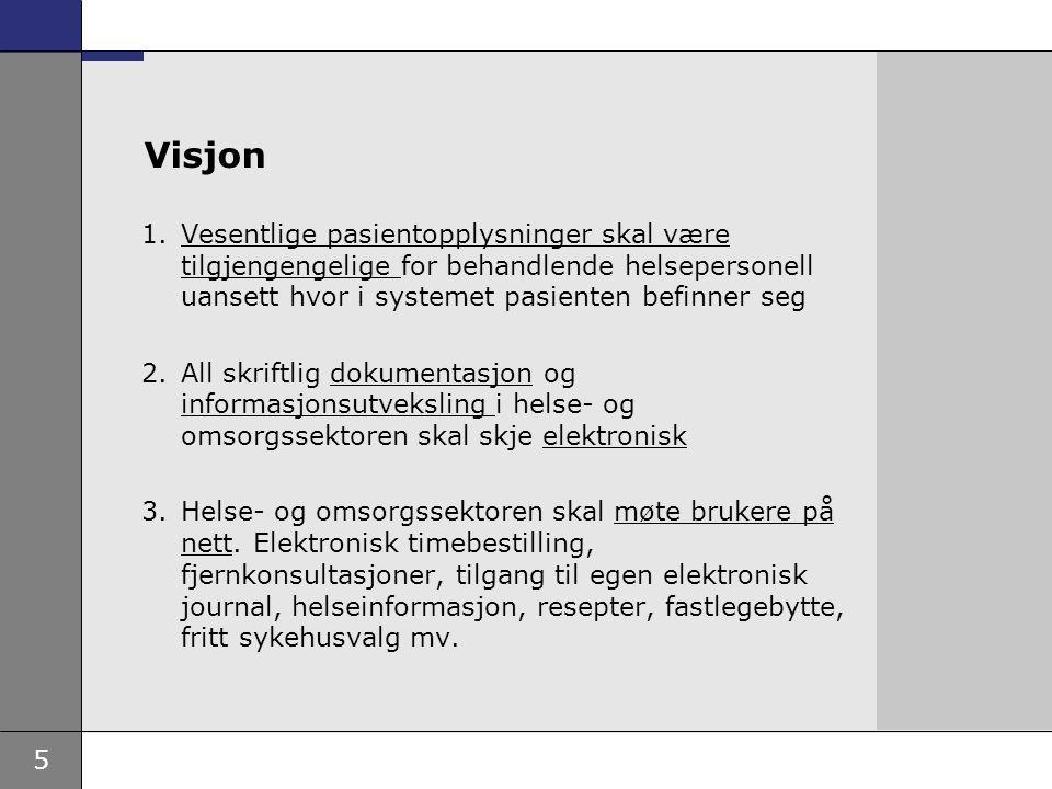 5 Visjon 1.Vesentlige pasientopplysninger skal være tilgjengengelige for behandlende helsepersonell uansett hvor i systemet pasienten befinner seg 2.A