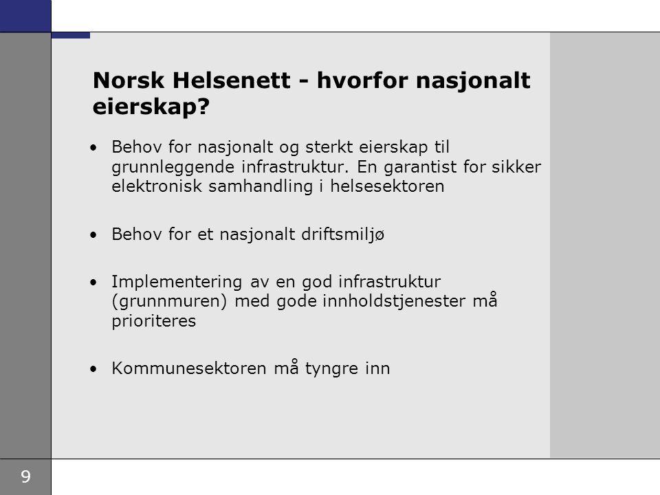 9 Norsk Helsenett - hvorfor nasjonalt eierskap? Behov for nasjonalt og sterkt eierskap til grunnleggende infrastruktur. En garantist for sikker elektr