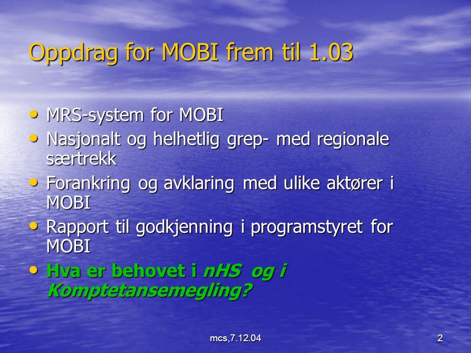 mcs,7.12.042 Oppdrag for MOBI frem til 1.03 MRS-system for MOBI MRS-system for MOBI Nasjonalt og helhetlig grep- med regionale særtrekk Nasjonalt og helhetlig grep- med regionale særtrekk Forankring og avklaring med ulike aktører i MOBI Forankring og avklaring med ulike aktører i MOBI Rapport til godkjenning i programstyret for MOBI Rapport til godkjenning i programstyret for MOBI Hva er behovet i nHS og i Komptetansemegling.