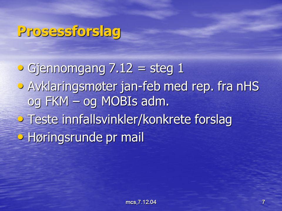 mcs,7.12.047 Prosessforslag Gjennomgang 7.12 = steg 1 Gjennomgang 7.12 = steg 1 Avklaringsmøter jan-feb med rep.
