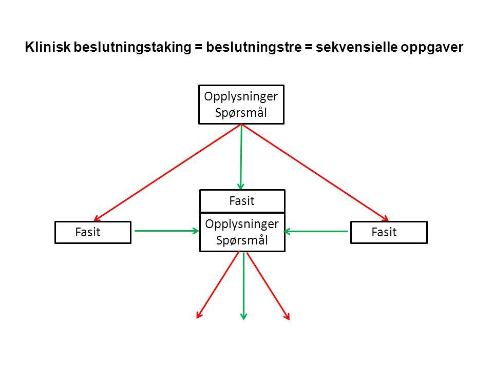 Opplysninger Spørsmål Opplysninger Spørsmål Fasit Klinisk beslutningstaking = beslutningstre = sekvensielle oppgaver