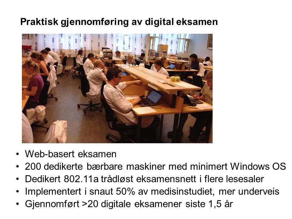 Praktisk gjennomføring av digital eksamen Web-basert eksamen 200 dedikerte bærbare maskiner med minimert Windows OS Dedikert 802.11a trådløst eksamens