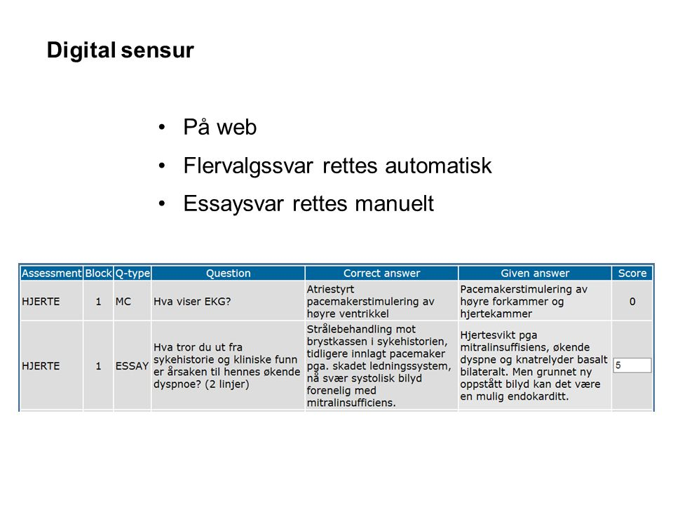 Digital sensur På web Flervalgssvar rettes automatisk Essaysvar rettes manuelt