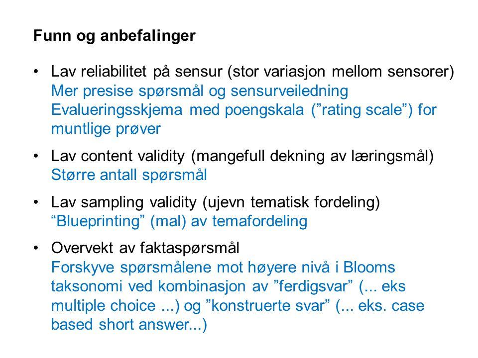 Funn og anbefalinger Lav reliabilitet på sensur (stor variasjon mellom sensorer) Mer presise spørsmål og sensurveiledning Evalueringsskjema med poengs
