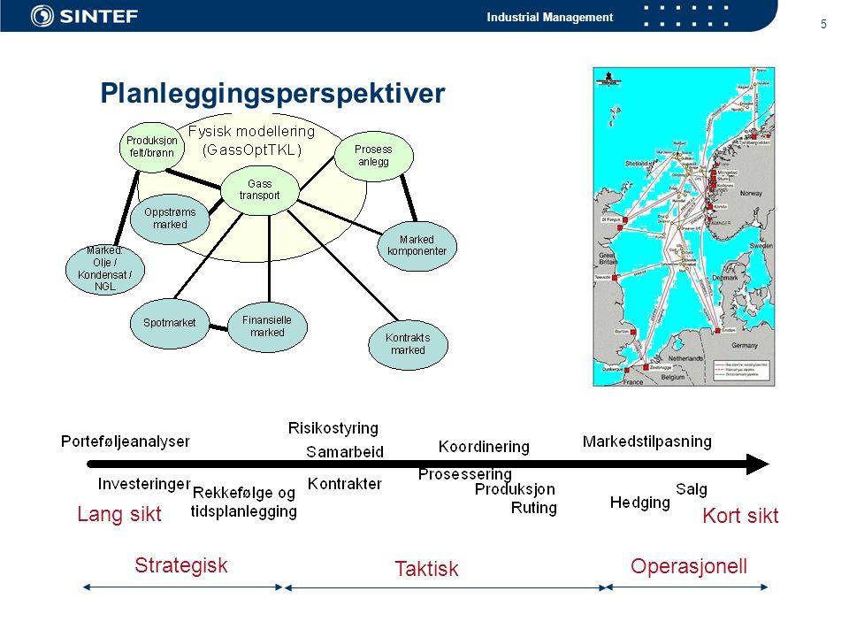 Industrial Management 5 Planleggingsperspektiver Strategisk Kort sikt Taktisk Operasjonell Lang sikt