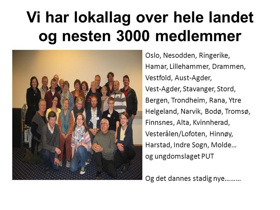 Vi har lokallag over hele landet og nesten 3000 medlemmer Oslo, Nesodden, Ringerike, Hamar, Lillehammer, Drammen, Vestfold, Aust-Agder, Vest-Agder, St