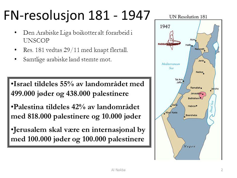 FN-resolusjon 181 - 1947 Den Arabiske Liga boikotter alt forarbeid i UNSCOP Res. 181 vedtas 29/11 med knapt flertall. Samtlige arabiske land stemte mo