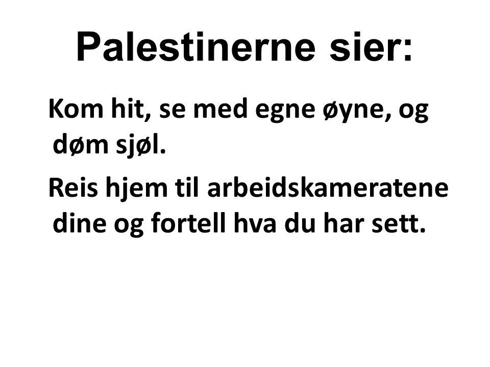 Palestinerne sier: Kom hit, se med egne øyne, og døm sjøl. Reis hjem til arbeidskameratene dine og fortell hva du har sett.
