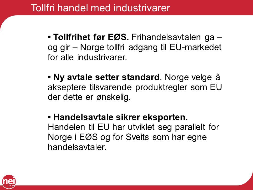 Tollfri handel med industrivarer Tollfrihet før EØS. Frihandelsavtalen ga – og gir – Norge tollfri adgang til EU-markedet for alle industrivarer. Ny a