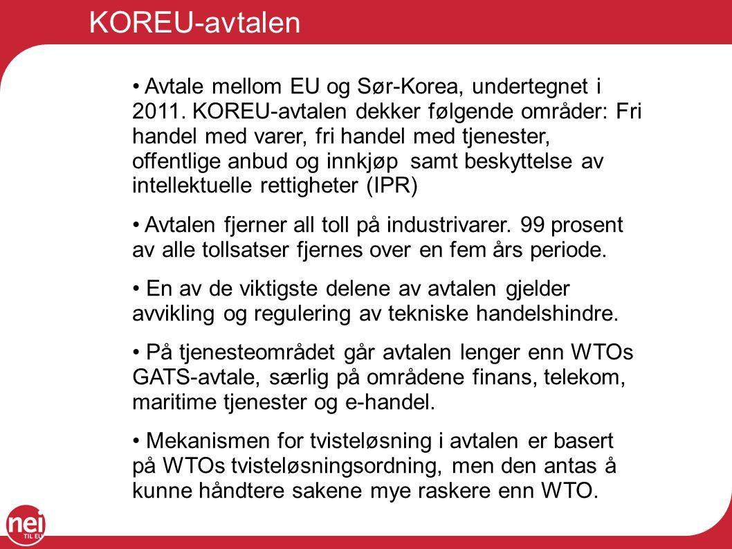 KOREU-avtalen Avtale mellom EU og Sør-Korea, undertegnet i 2011.