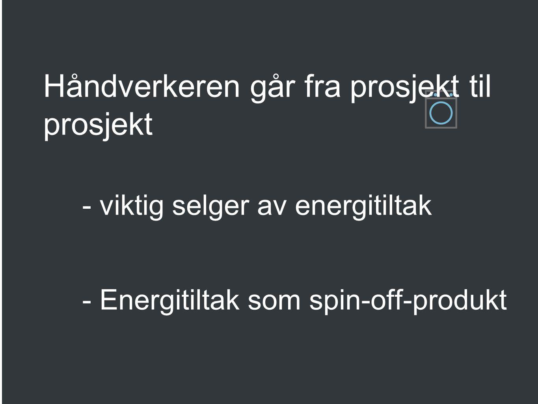 Smarte energiløsninger ved oppussing Lavenergiprogrammet presenterer ulike måter samarbeidspartnere kan benytte seg av materiellet Håndverkeren går fra prosjekt til prosjekt - viktig selger av energitiltak - Energitiltak som spin-off-produkt