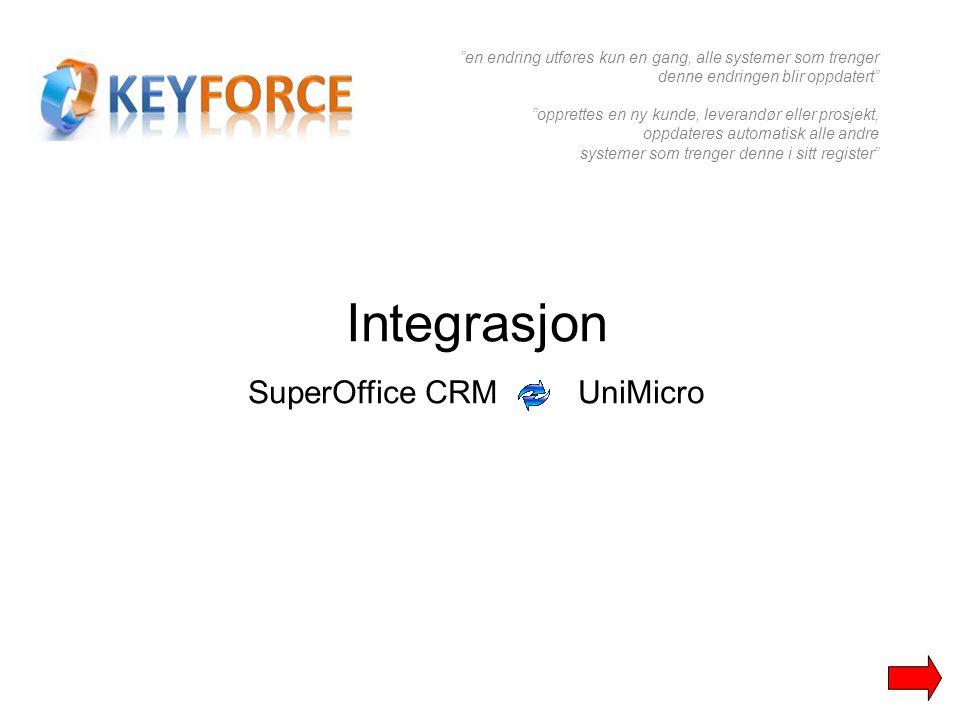 """Integrasjon SuperOffice CRM UniMicro """"en endring utføres kun en gang, alle systemer som trenger denne endringen blir oppdatert"""" """"opprettes en ny kunde"""