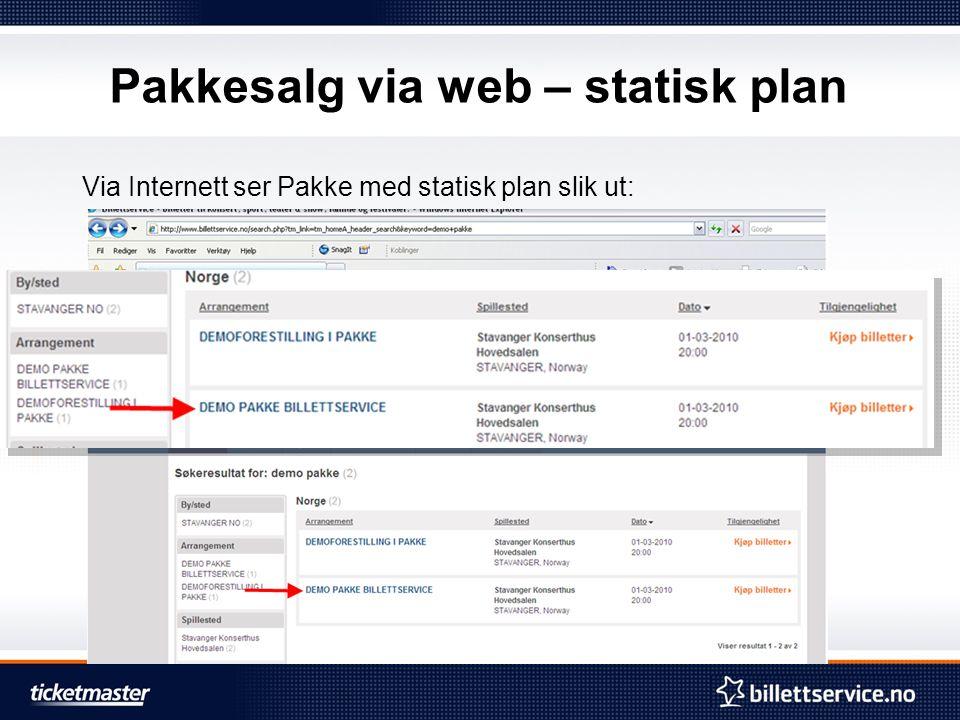 Pakkesalg via web – statisk plan Via Internett ser Pakke med statisk plan slik ut:
