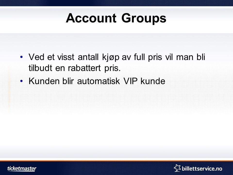 Account Groups Ved et visst antall kjøp av full pris vil man bli tilbudt en rabattert pris.