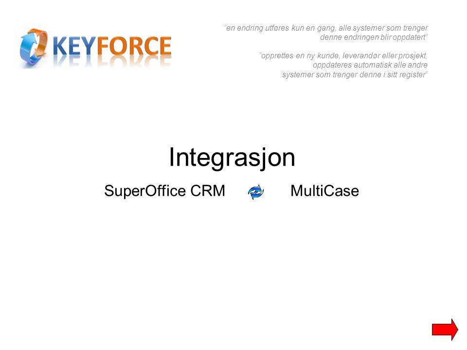 """Integrasjon SuperOffice CRM MultiCase """"en endring utføres kun en gang, alle systemer som trenger denne endringen blir oppdatert"""" """"opprettes en ny kund"""