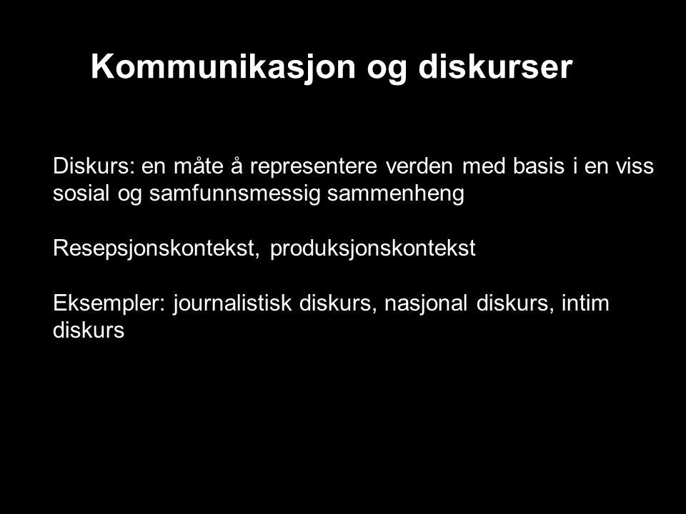 Kommunikasjon og diskurser Diskurs: en måte å representere verden med basis i en viss sosial og samfunnsmessig sammenheng Resepsjonskontekst, produksjonskontekst Eksempler: journalistisk diskurs, nasjonal diskurs, intim diskurs