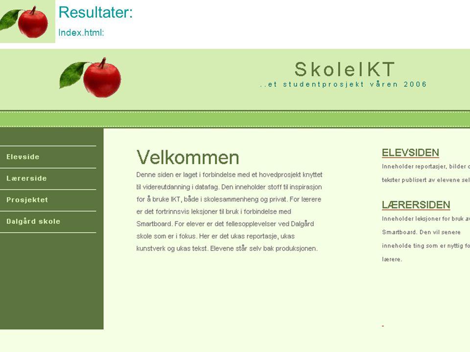 Resultater: Index.html: