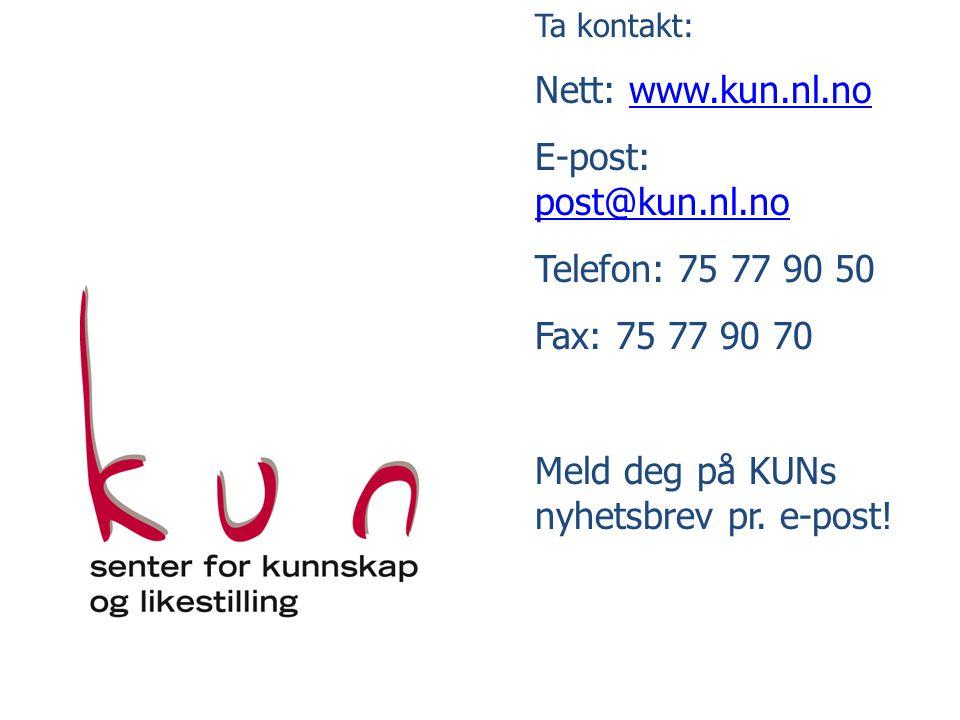 Ta kontakt: Nett: www.kun.nl.nowww.kun.nl.no E-post: post@kun.nl.no post@kun.nl.no Telefon: 75 77 90 50 Fax: 75 77 90 70 Meld deg på KUNs nyhetsbrev pr.