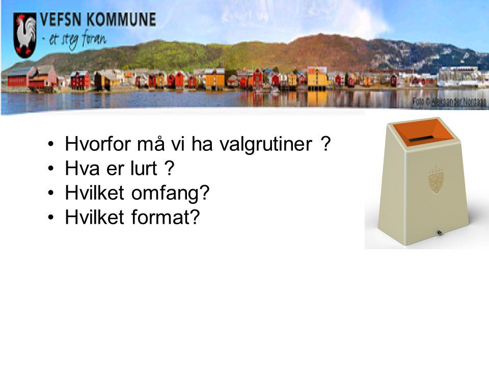 Hvorfor må vi ha valgrutiner ? Hva er lurt ? Hvilket omfang? Hvilket format?