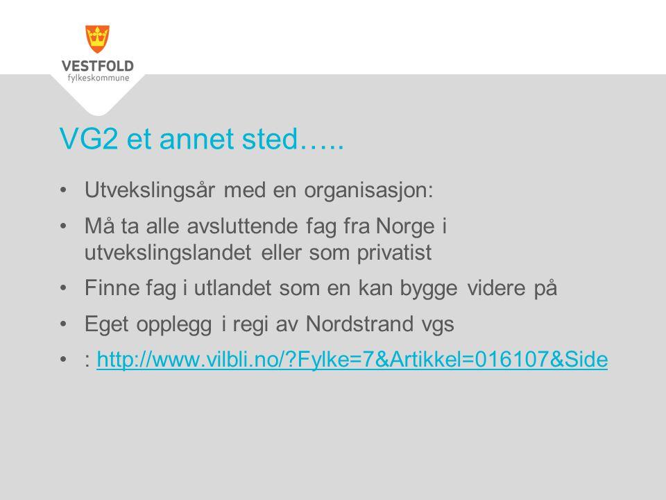 Utvekslingsår med en organisasjon: Må ta alle avsluttende fag fra Norge i utvekslingslandet eller som privatist Finne fag i utlandet som en kan bygge videre på Eget opplegg i regi av Nordstrand vgs : http://www.vilbli.no/ Fylke=7&Artikkel=016107&Sidehttp://www.vilbli.no/ Fylke=7&Artikkel=016107&Side VG2 et annet sted…..