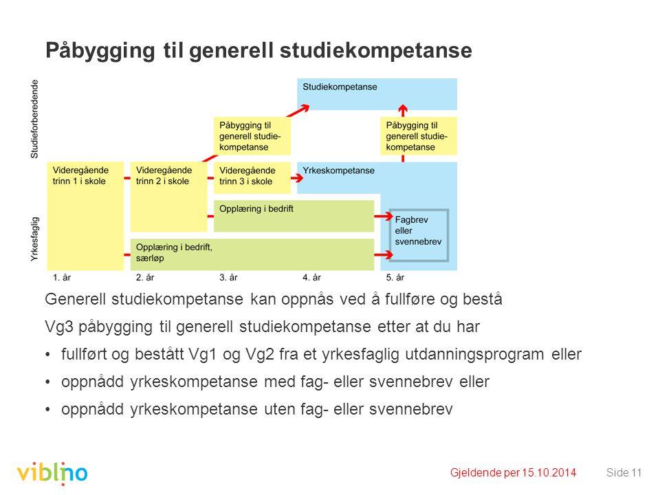 Gjeldende per 15.10.2014Side 11 Påbygging til generell studiekompetanse Generell studiekompetanse kan oppnås ved å fullføre og bestå Vg3 påbygging til