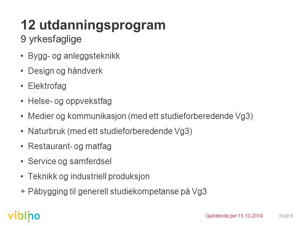 Gjeldende per 15.10.2014Side 6 12 utdanningsprogram 9 yrkesfaglige Bygg- og anleggsteknikk Design og håndverk Elektrofag Helse- og oppvekstfag Medier