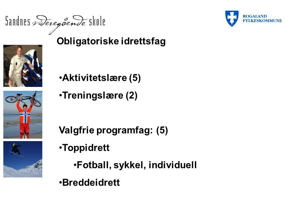 Obligatoriske idrettsfag Aktivitetslære (5) Treningslære (2) Valgfrie programfag: (5) Toppidrett Fotball, sykkel, individuell Breddeidrett