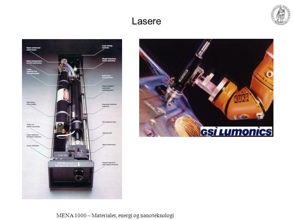 MENA 1000 – Materialer, energi og nanoteknologi LASER Light Amplification by Stimulated Emission of Radiation Elektroner eksiteres i en krystall eller