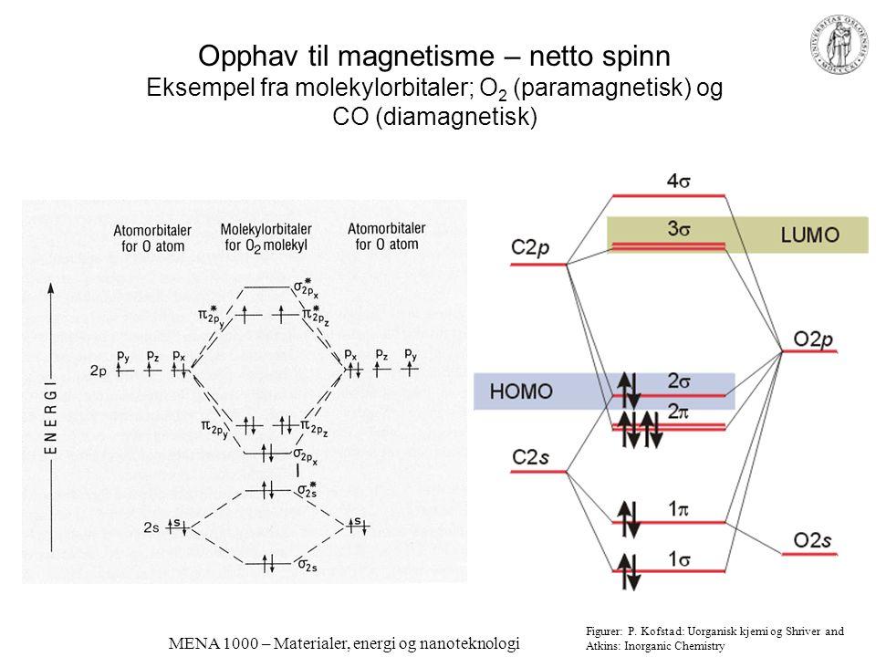 MENA 1000 – Materialer, energi og nanoteknologi Magnetiske egenskaper Mål for magnetisme: Flukstetthet (induksjon) B proporsjonal med magnetisk feltst