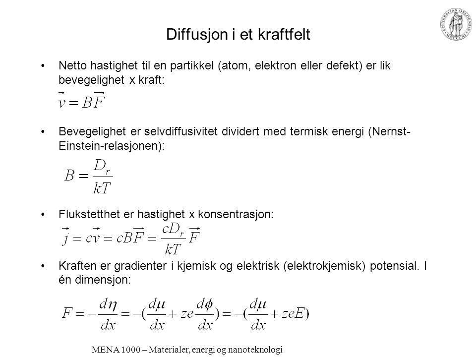 Elektriske egenskaper Langtransport av ladningsbærere Ladningsbærerne er i utgangspunktet i tilfeldig bevegelse pga. termisk energi (kT). –I metallisk