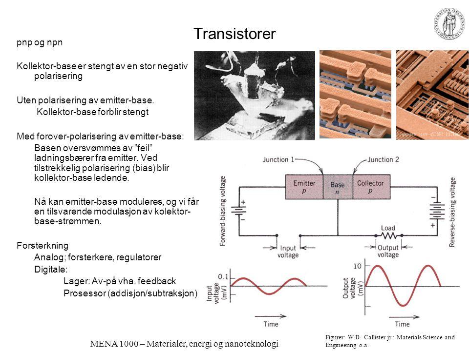 MENA 1000 – Materialer, energi og nanoteknologi Solceller Mest brukt er silisium –krystallinsk –amorft Andre halvledere kan også brukes –Krav: Passend