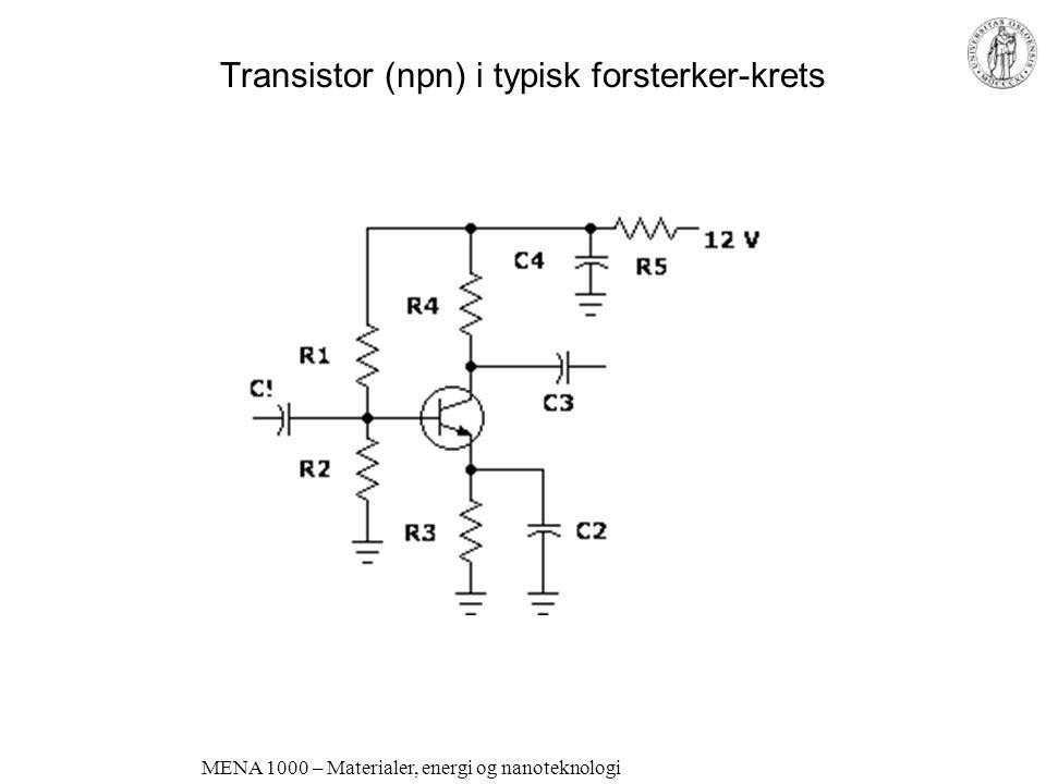 MENA 1000 – Materialer, energi og nanoteknologi Transistorer pnp og npn Kollektor-base er stengt av en stor negativ polarisering Uten polarisering av