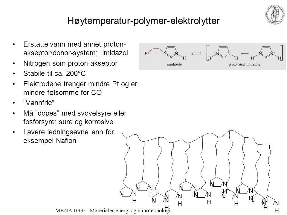 MENA 1000 – Materialer, energi og nanoteknologi Lavtemperatur, faste elektrolytter Protonledende polymerer Proton Exchange Membranes (PEM) Nafion ® le