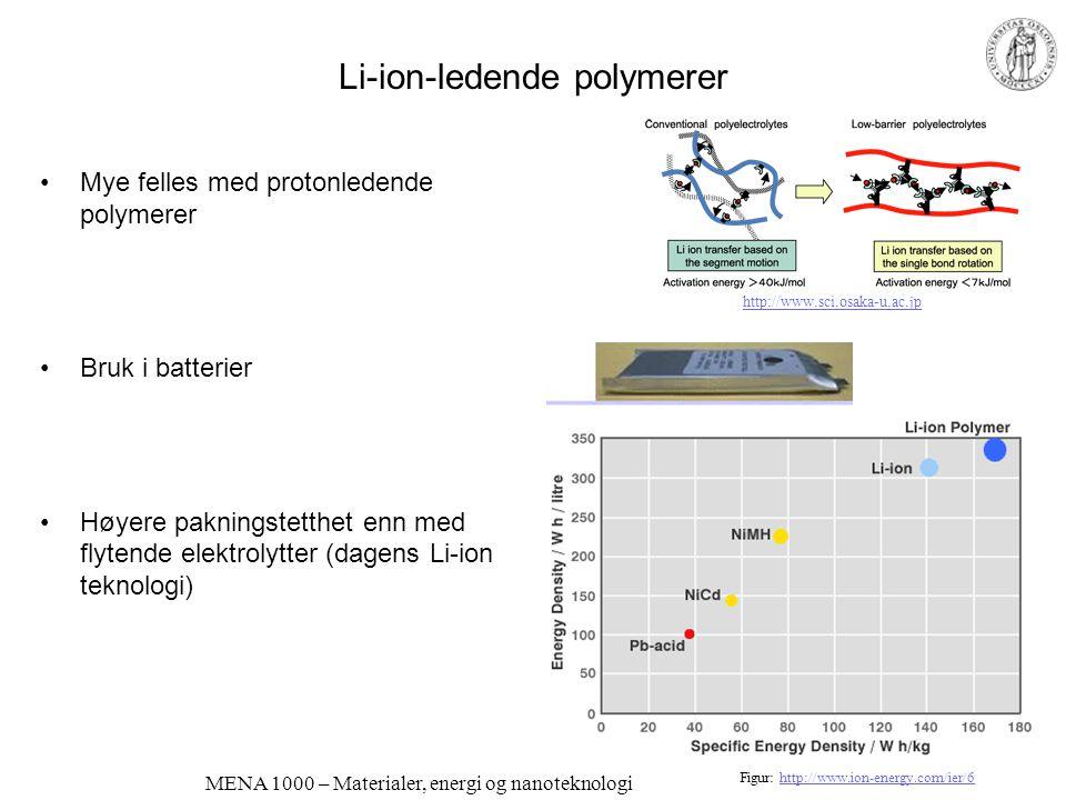 MENA 1000 – Materialer, energi og nanoteknologi Høytemperatur-polymer-elektrolytter Erstatte vann med annet proton- akseptor/donor-system; imidazol Ni