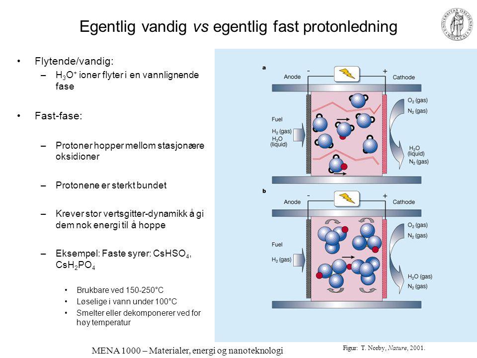 MENA 1000 – Materialer, energi og nanoteknologi Li-ion-ledende polymerer Mye felles med protonledende polymerer Bruk i batterier Høyere pakningstetthe