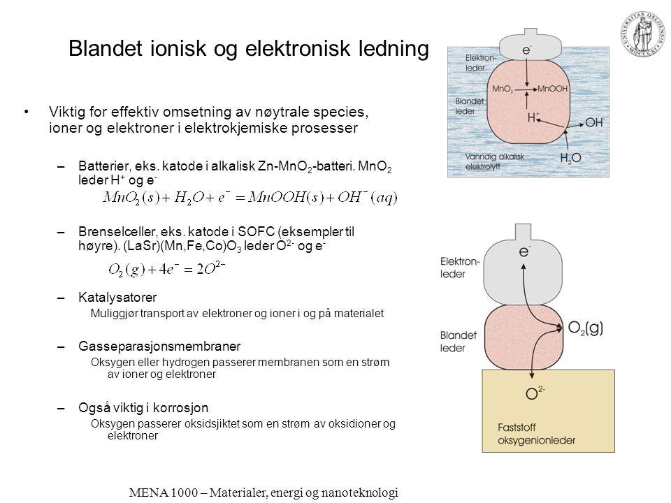 MENA 1000 – Materialer, energi og nanoteknologi Andre oksygenionledere Fluoritter: ZrO 2 : Sc-doping bedre enn Y-doping! Bedre tilpasning til ZrO 2 -g