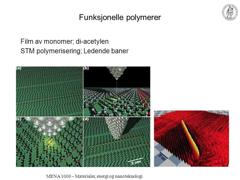 MENA 1000 – Materialer, energi og nanoteknologi Funksjonelle polymerer Halvledende og luminiscerende polymerer –OLED: Organic Light Emitting Diode Led