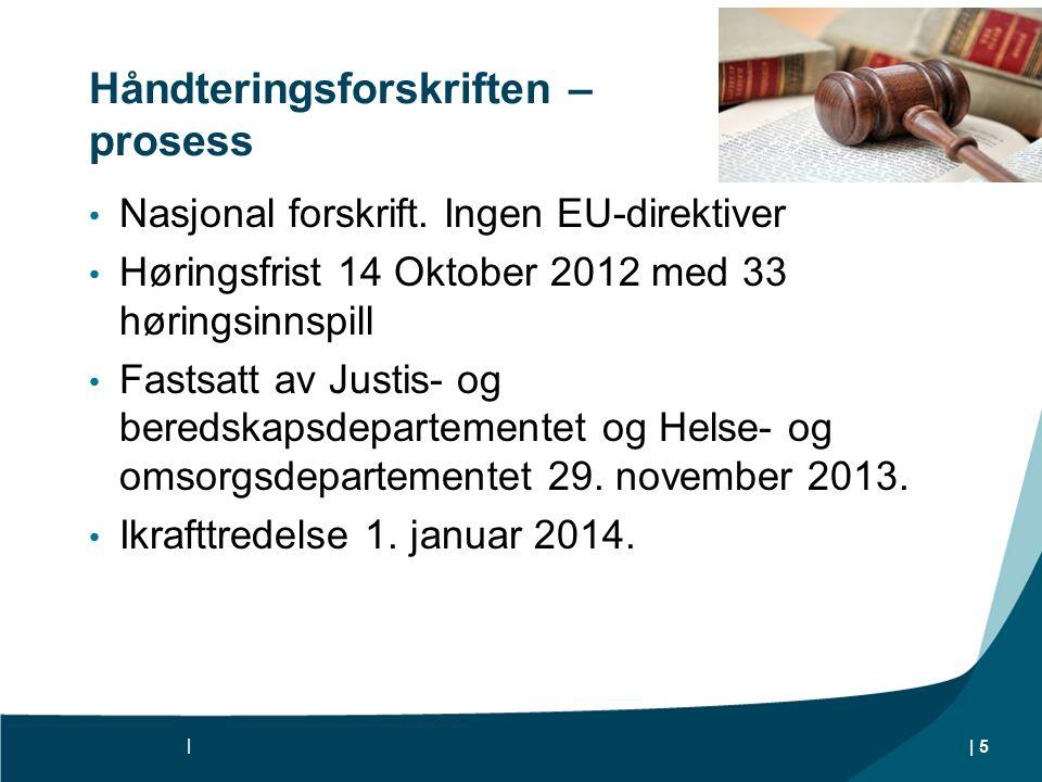 Håndteringsforskriften – prosess Nasjonal forskrift.