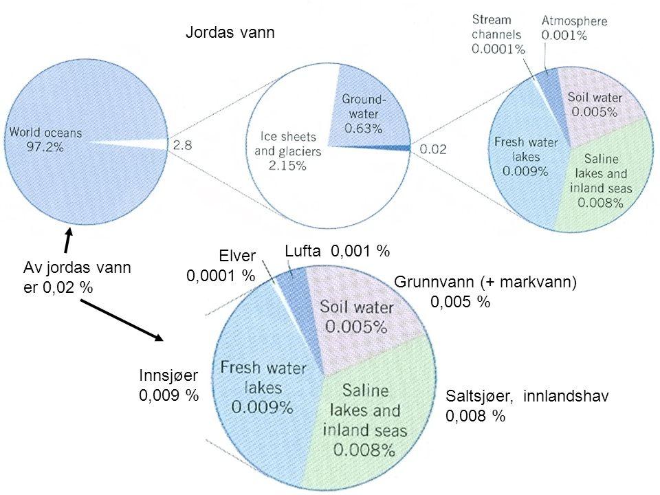 Jordas vann Elver 0,0001 % Lufta 0,001 % Grunnvann (+ markvann) 0,005 % Innsjøer 0,009 % Saltsjøer, innlandshav 0,008 % Av jordas vann er 0,02 %