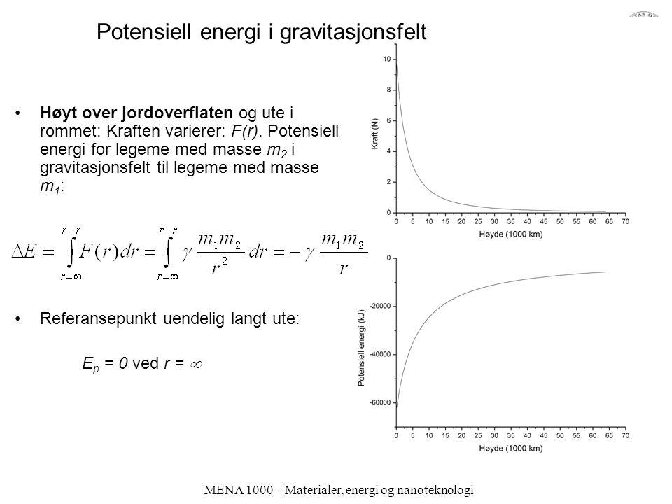 MENA 1000 – Materialer, energi og nanoteknologi Potensiell energi i gravitasjonsfelt Høyt over jordoverflaten og ute i rommet: Kraften varierer: F(r).