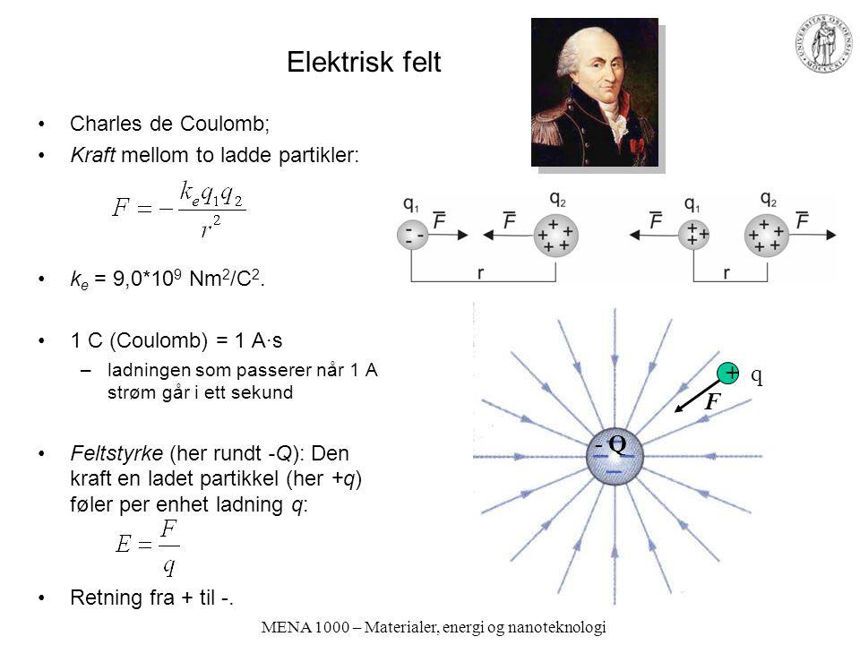 MENA 1000 – Materialer, energi og nanoteknologi Elektrisk felt Charles de Coulomb; Kraft mellom to ladde partikler: k e = 9,0*10 9 Nm 2 /C 2. 1 C (Cou
